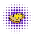 Slice of bread with honey icon comics style vector image vector image