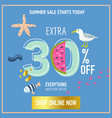 summer sale banner with beach elements vector image vector image