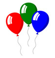 three balloons bright colors on white background vector image vector image