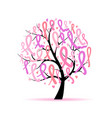 tree with pink ribbons breast cancer awareness vector image