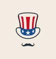 uncle sams symbol hat with mustache vector image vector image
