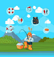 with fisherman and cartoon vector image vector image