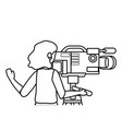 woman holding videocamera design vector image vector image