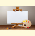 wooden easel canvas paint palette brush vector image