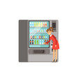 young woman using automatic vending machine with vector image