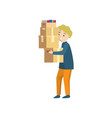 a young man carries four boxes stacked on top of vector image