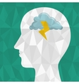 abstract silhouette head brainstorming think icon vector image