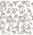 aquatic animals raw seafood shrimps and crabs vector image