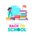 back to school concept of kid learning from books vector image vector image