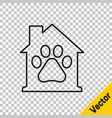 black line pet house icon isolated on transparent vector image vector image