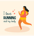 body positive happy plus size girl and active vector image