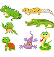 cartoon reptiles and amphibians collection set vector image