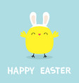 chicken bird face head wearing bunny rabbit ears vector image