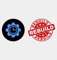 clock setup wheel icon and distress rebuild vector image vector image