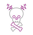 color line skull with bones to dander symbol to vector image vector image