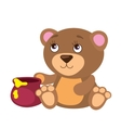 Cute Bear With Honey Pot vector image