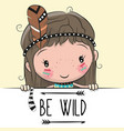 cute cartoon tribal girl with a feather vector image vector image