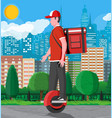 delivery man riding monowheel with box vector image vector image