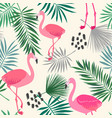 flamingo and leaves vector image vector image