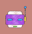 flat shading style icon toy robot face vector image vector image