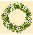 floral wreath frame with white flowers vector image vector image
