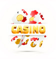 flying poker cards with playing chips and coins vector image vector image