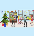 funny business people celebrating new year in vector image
