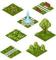 garden isometric tile set isolated isometric vector image vector image