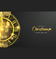 gold christmas and new year clock greeting card vector image