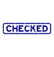 grunge blue checked word rubber seal stamp on vector image vector image