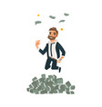 happy man businessman jumping under money rain vector image vector image