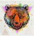 hipster animal bear on artistic polygon background vector image vector image