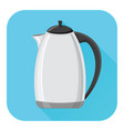 kettle flat design blue square icon vector image