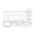 living room graphic interior sketch draw vector image