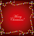 merry christmas greeting card garland lights frame vector image