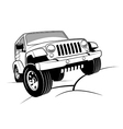 Monochrome detailed cartoon off-road jeep vector | Price: 1 Credit (USD $1)