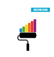 Paint roller statistic chart icon isolated on