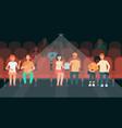 people sitting in cinema hall cartoon style vector image vector image