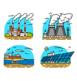 power plants icons industrial buildings nuclear vector image vector image