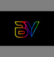 rainbow color colored colorful alphabet letter bv vector image vector image