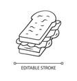sandwich linear icon fast food breakfast school vector image