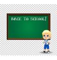 school boy near blackboard with chalk inscription vector image vector image