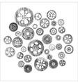 scribbled cogwheels and gears vector image vector image