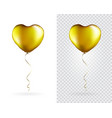 set golden heart shaped foil balloons on vector image