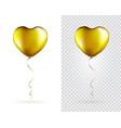 set golden heart shaped foil balloons vector image