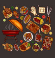 set of elements for barbecue vector image vector image