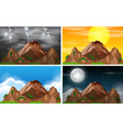 set of mountain view different climate vector image vector image