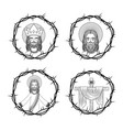 set of sacred jesus cross with crown thorns hand vector image