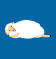 sheep sleeping ewe asleep emoji farm animal vector image