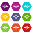 shield knight icons set 9 vector image vector image